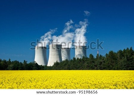 Nuclear power station, green energy, clean technology - stock photo
