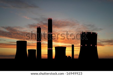 Nuclear power station over sunset - stock photo
