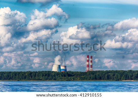 nuclear power stations , nature - stock photo