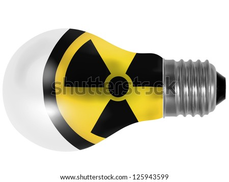 Nuclear radiation symbol painted on painted on lightbulb - stock photo