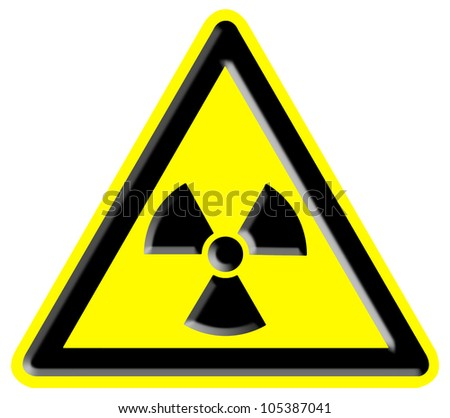 Nuclear radiation warning sign - stock photo