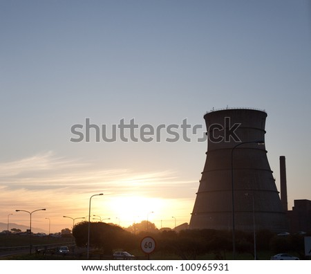 Nuclear reactor cooling tower, Cape Town, South Africa - stock photo