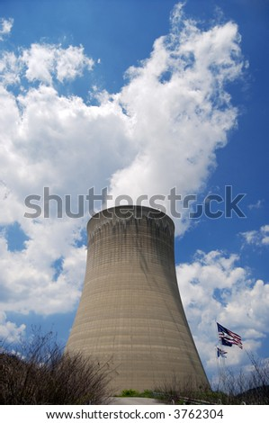 Nuclear Reactor w/ American Flag - stock photo