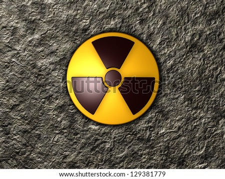 nuclear symbol on stone background - 3d illustration - stock photo