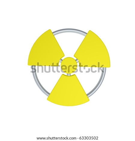 nuclear symbol on white background - 3d illustration - stock photo