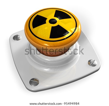 Nuclear war concept: atomic bomb launch button with radiation symbol isolated on white background - stock photo