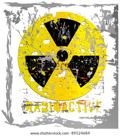 nuclear warning, grungy radiation sign, isolated on white background