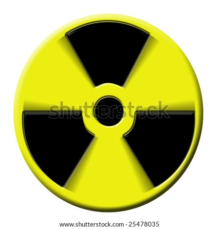 nuclear warning sign rotating. Symbol of atomic activity risk or danger - stock photo