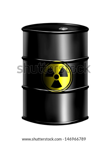 nuclear waste drum - stock photo