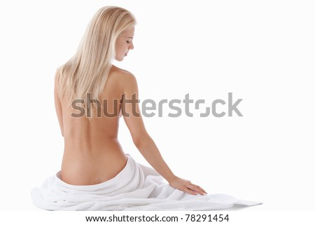 Nude attractive girl on a white background - stock photo
