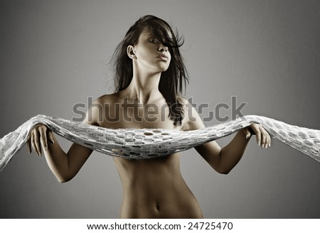 nude beautiful girl with shawl over her hands - stock photo