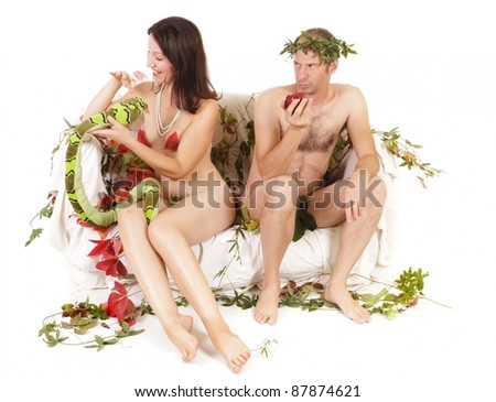 nude couple original sin concept, conflict and jealousy - stock photo