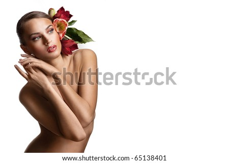 Nude girl with flowers in her hair on the white background - stock photo