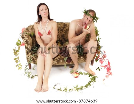 nude kitsch couple relationship conflict isolated on white