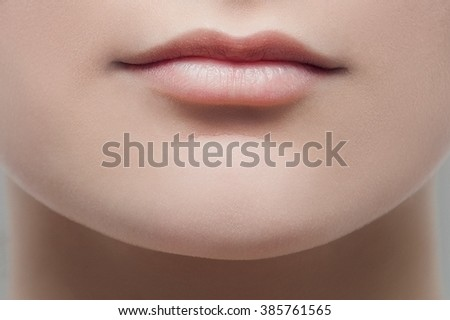 Nude lips - stock photo