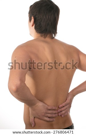 Nude muscular back men on white background
