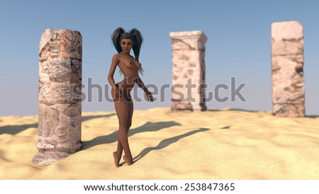 nude sexy african young woman posing in desert near ruins - stock photo