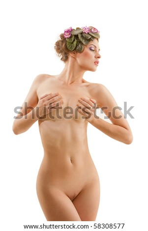 Nude sexy girl with a wreath of flowers on her head on the white background - stock photo