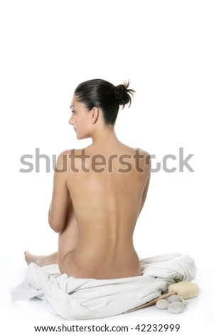 Nude sit woman back with white towel studio shot - stock photo