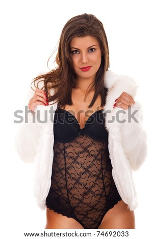 Nude woman covered with fur, isolated on white background - stock photo
