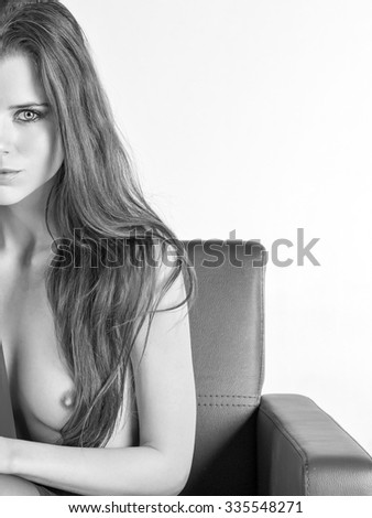 Nude young attractive blond women - stock photo