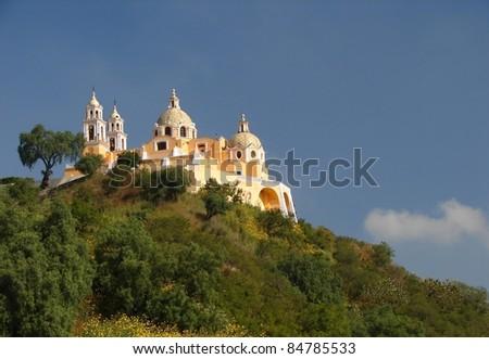 Nuestra Señora de los Remedios sanctuary,Cholula, Mexico - stock photo