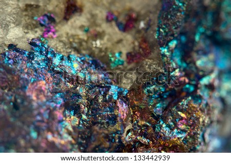 Nugget, colour metal. Macro. Extreme closeup