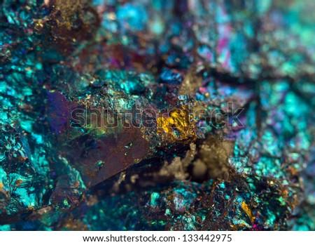 Nugget, colour metal. Macro. Extreme closeup - stock photo