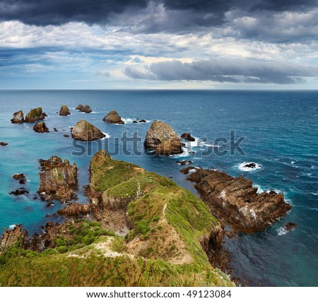 Nugget Point, Catlins Coast, New Zealand - stock photo