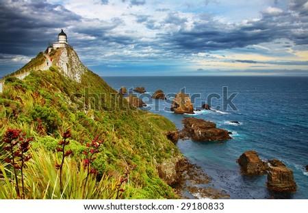 Nugget Point Lighthouse, New Zealand - stock photo