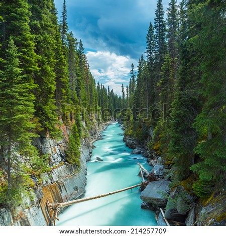 Numa Falls and the Vermillion River Canyon in kootney Canada  - stock photo