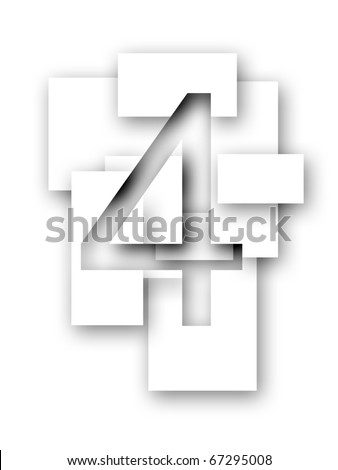 Number 4 - stock photo