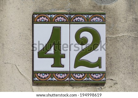 Number 42, address number - stock photo