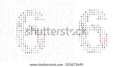 Number 6 alphabet from binary code stock photo