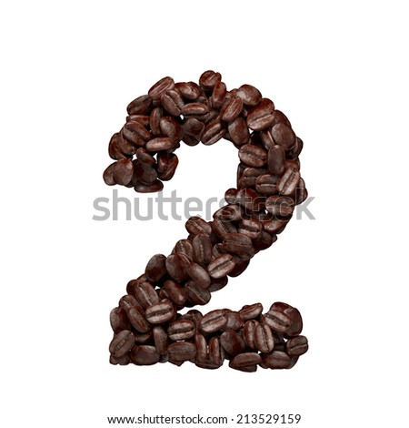 Number 2. Alphabet from coffee beans isolated on white.  - stock photo
