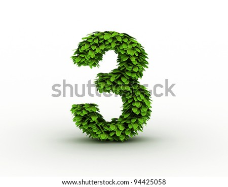 Number 3, alphabet of green leaves - stock photo