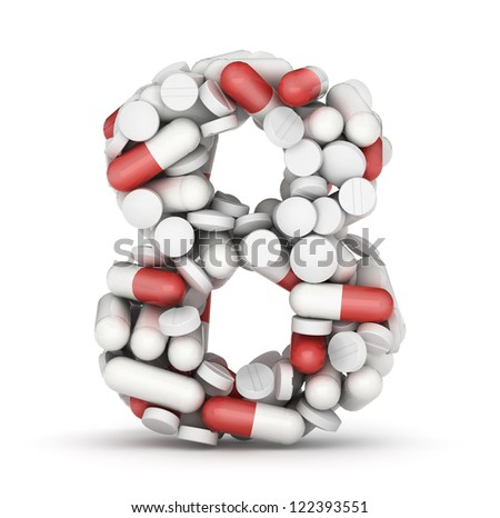 Number 8, alphabet of medicine pills - stock photo