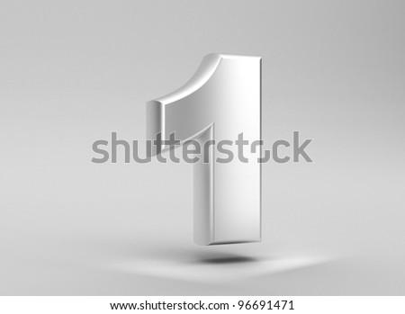 number 1 aluminum iron on grey background - stock photo