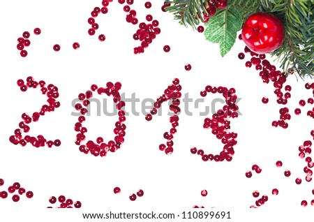 Number 2013 and branch of fir as New Year concept. - stock photo