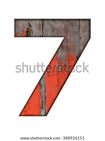 Number and English alphabet from old wooden on white background