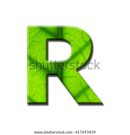 Number and letter from green leaf on white background