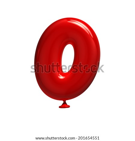 Number 0. Balloon font isolated on White Background. - stock photo