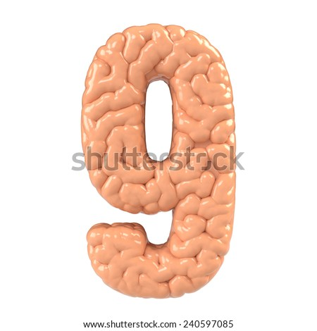 Number 9. Brain alphabet isolated on white background.Brain font.  - stock photo