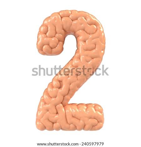 Number 2. Brain alphabet isolated on white background. Brain font.  - stock photo