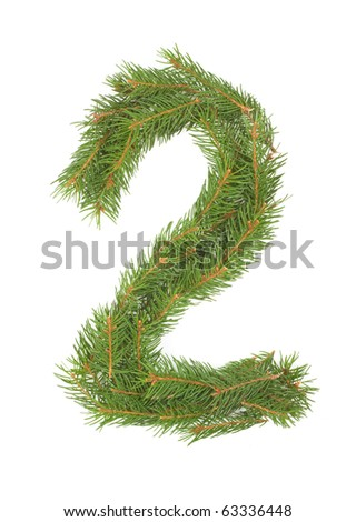 NUMBER 2 - Christmas tree decoration - part of a full set - stock photo