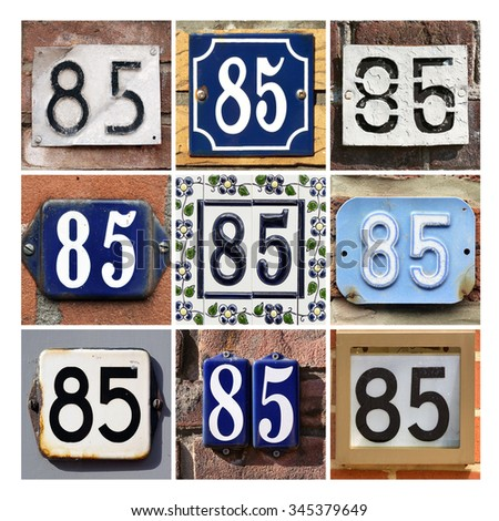 Number 85. Collage of House Numbers Eighty-five. - stock photo
