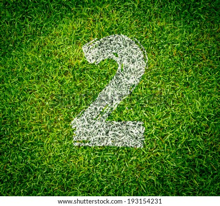 number collection - 2 on green grass seamless texture - stock photo
