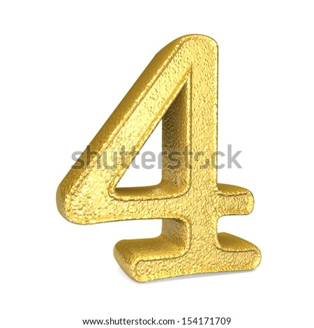 Number 4. 3d render shiny gold number collection - stock photo