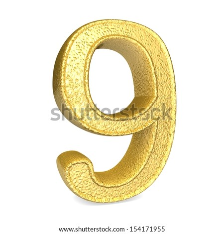 Number 9. 3d render shiny gold number collection - stock photo
