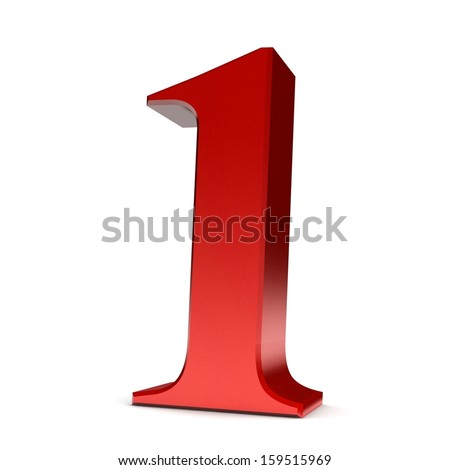 Number 1. 3d render shiny red number collection - stock photo
